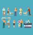 buyers in supermarket set vector image