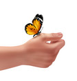 butterfly on hand vector image