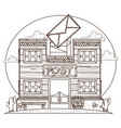 wild west post office outline drawing for coloring vector image