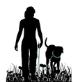 Walking with dog in the meadow vector image