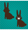 two types of bunny silhouettes on a background of vector image