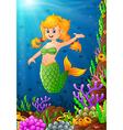 mermaid under the sea vector image