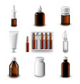 Medical bottles icons set vector image