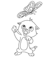 outlined kitten and butterfly vector image