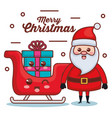 santa claus with sled and gift character christmas vector image