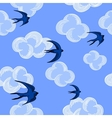 Seagulls and clouds seamless pattern on the blue vector image