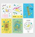 set of abstract modern cards templates with vector image