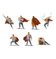 set of businessman Superhero actions different vector image
