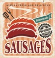 Vintage sausages poster vector image