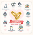 wedding planner concept with shiny gold rings vector image