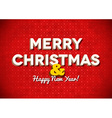 Vintage red Merry Christmas card with lettering vector image vector image