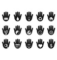 hand with icons set vector image vector image