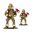 firefighter with the fire axe vector image vector image