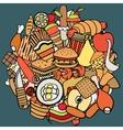 set of food theme vector image