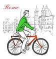 man on bicycle in Rome vector image