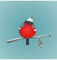 Bullfinch Sitting on Ashberry Twig vector image