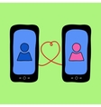Doodle phones with love talk vector image