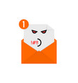 rude emoji in orange letter notification vector image