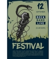 Rock music poster with snake and microphone vector image