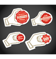 Shopping colorful discount labels in a hand vector image