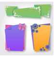 Origami notepaper folded note sheets with flowers vector image vector image