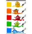 primary colors with cartoon fruits vector image