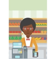 Customer paying wireless with smartphone vector image