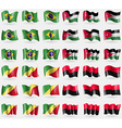 Brazil Jordan Congo Republic UPA Set of 36 flags vector image