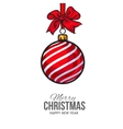 Christmas balls with red ribbon and bows greeting vector image