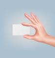 hand keeping card vector image