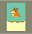 new year dog on winter forest background vector image