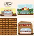 set of supermarket departments yogurt and milk vector image