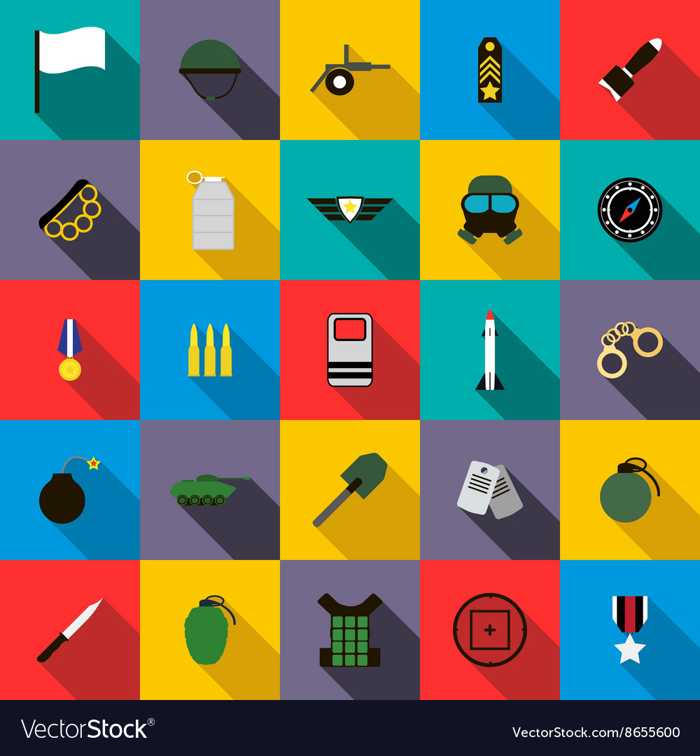 Military and war icons set flat style vector