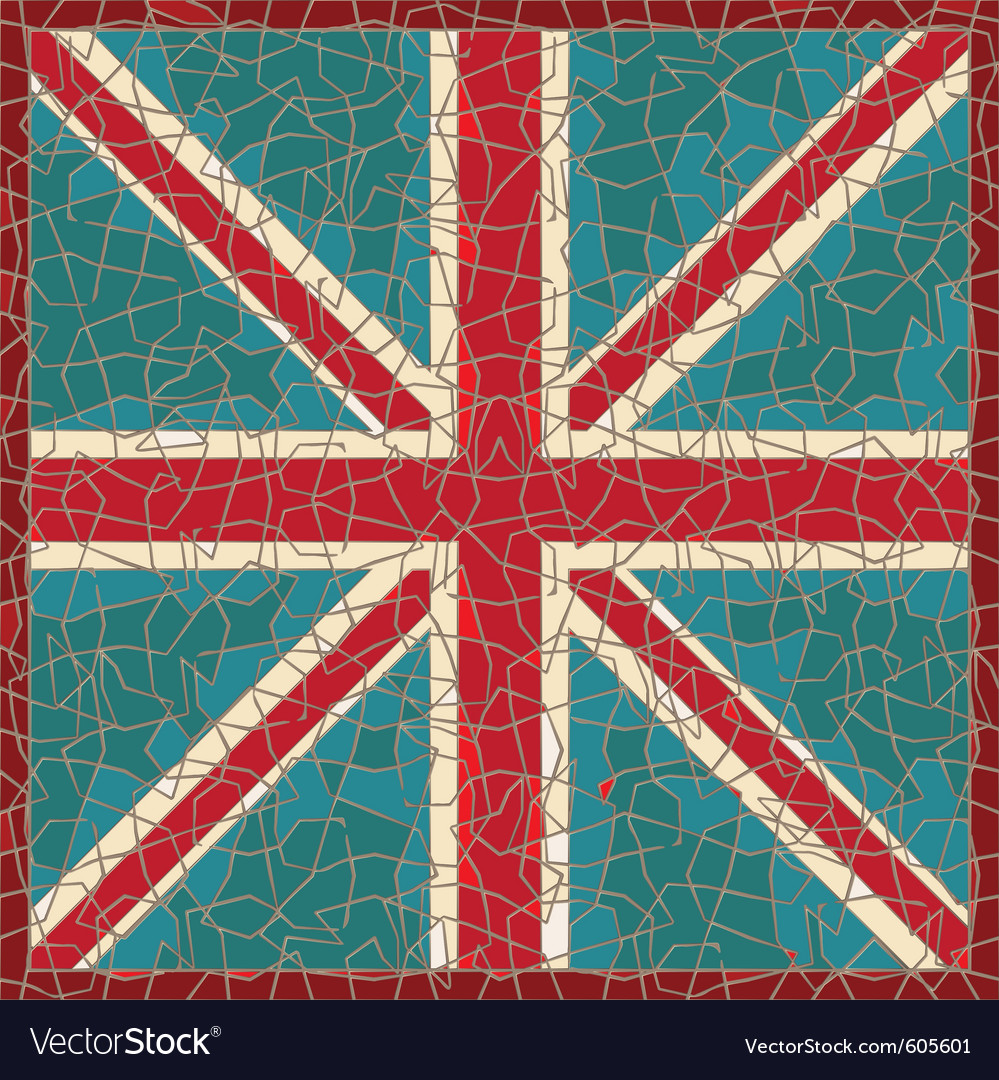 Cracked colored fresco with greatbritain flag vector
