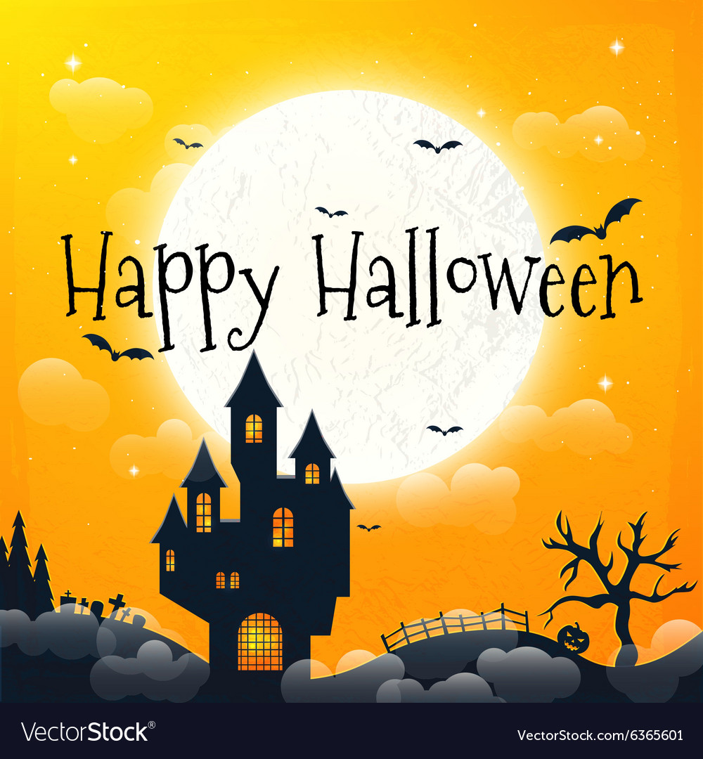 Dark house on blue full moon happy halloween vector
