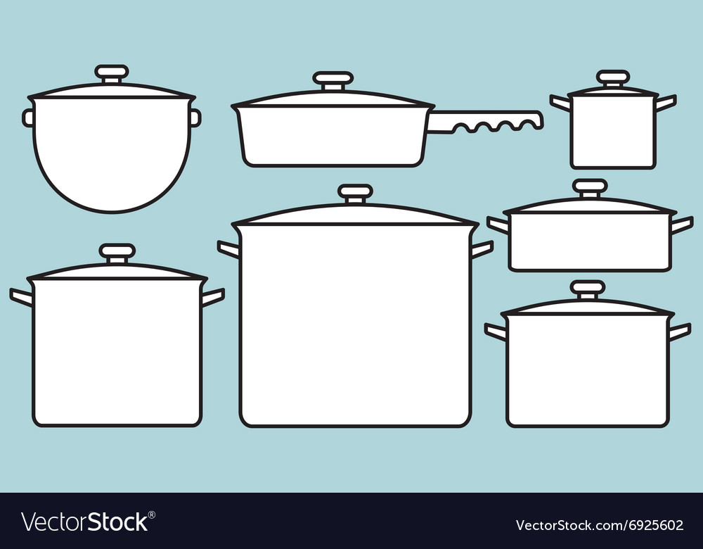 Saucepans set vector