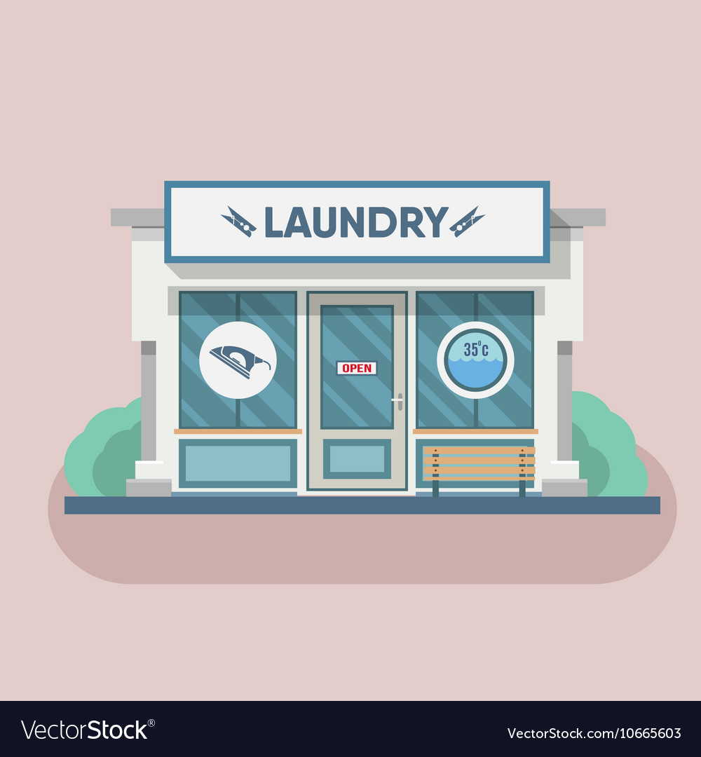 Building laundry flat design washing mashine vector