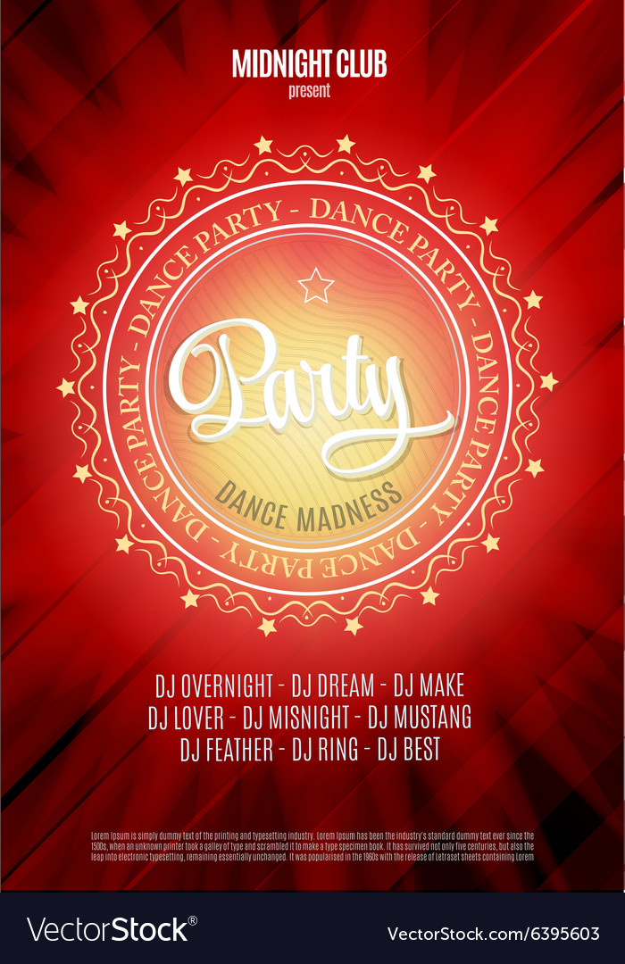 Dance party poster and flyer background vector