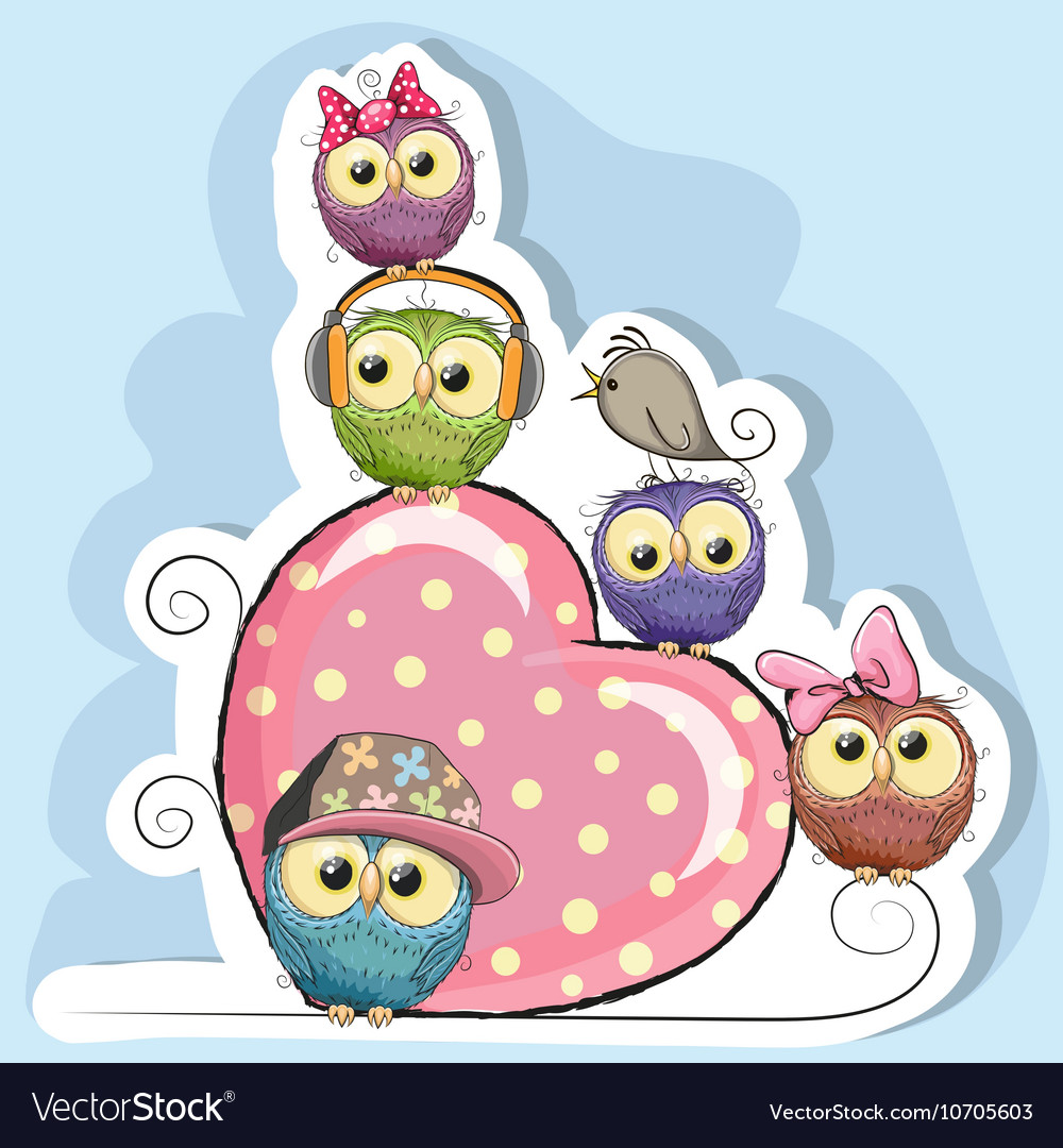 Five owls is sitting on a heart vector