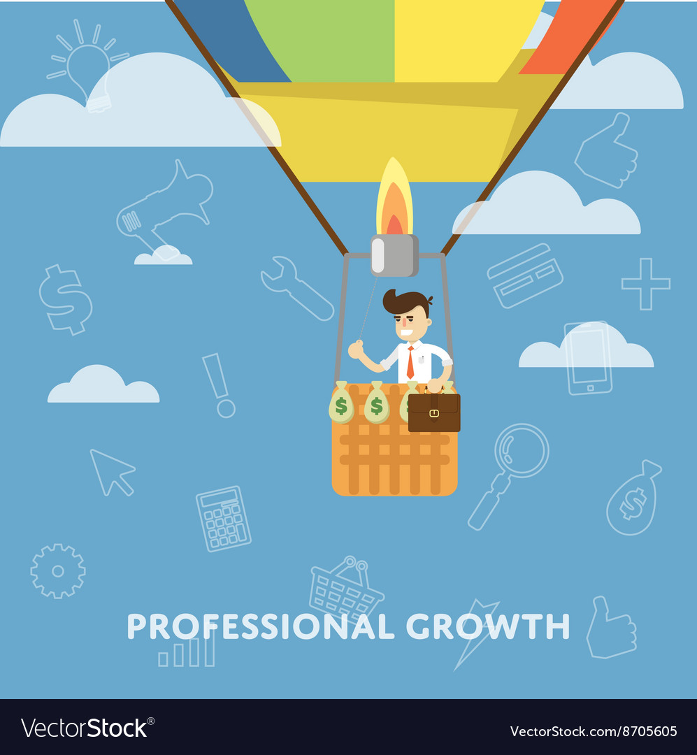 Professional growth business concept flat vector