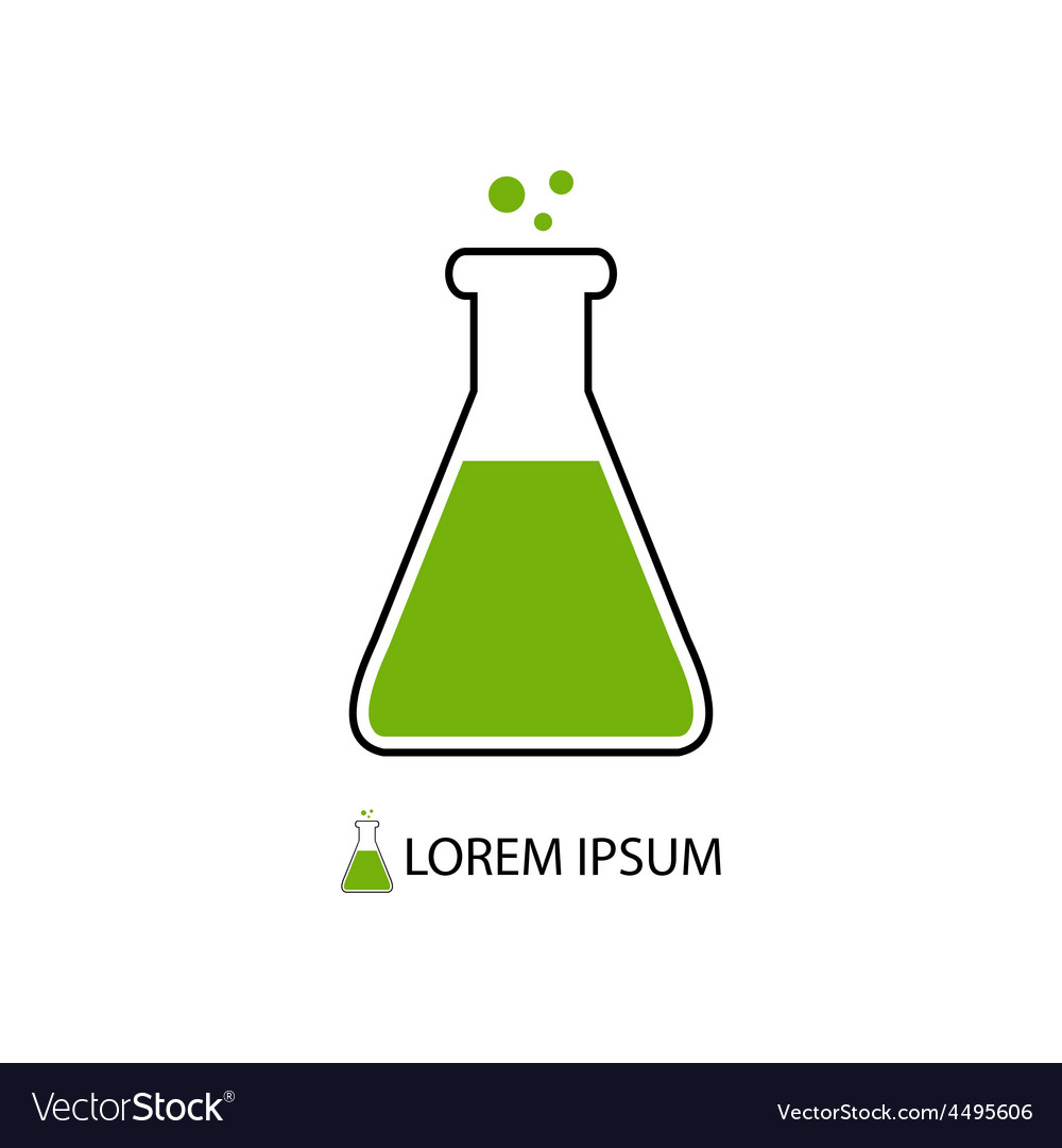 Flask as chemistry logo vector