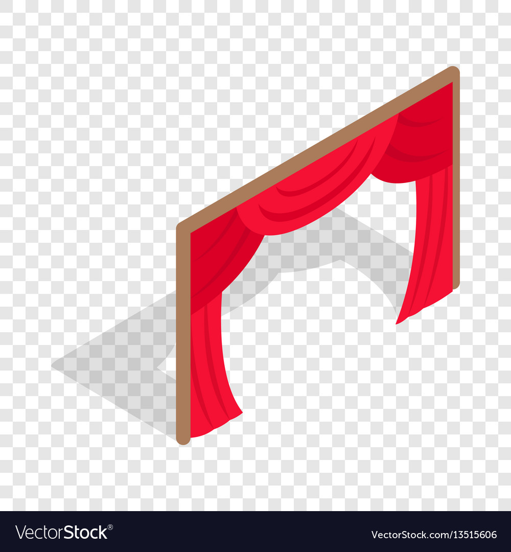 Stage curtains isometric icon vector