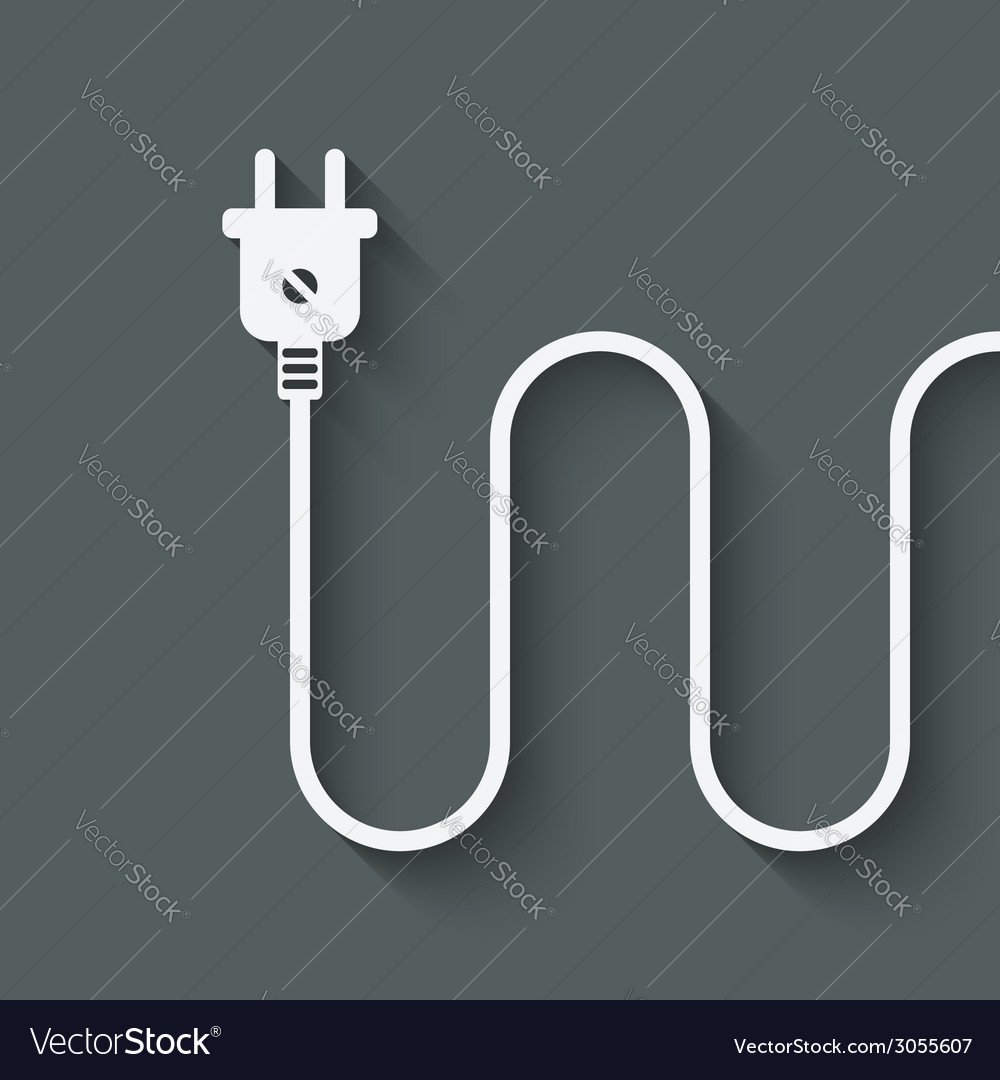 Electric wire with plug vector