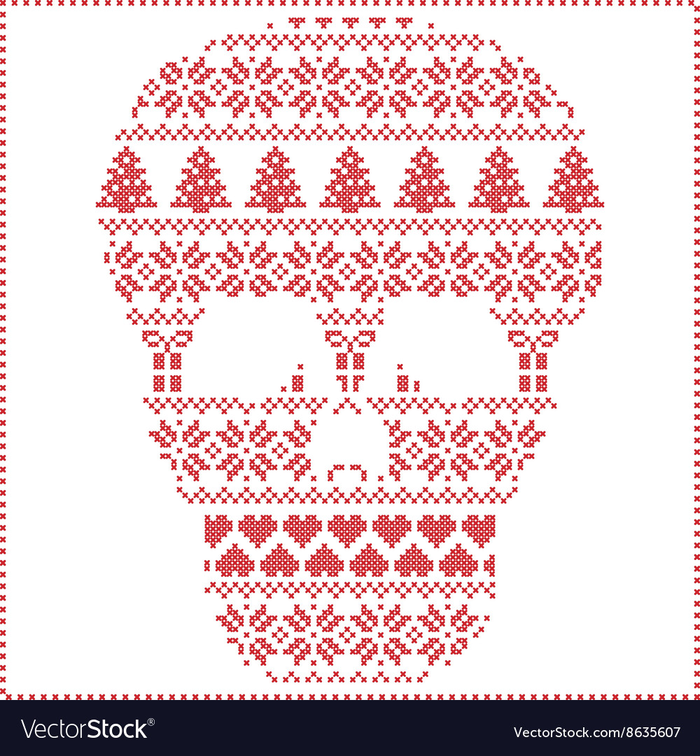Winter pattern sugar skull vector