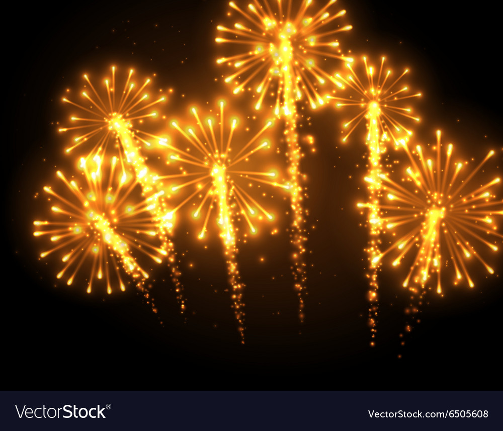 Festive gold firework background vector