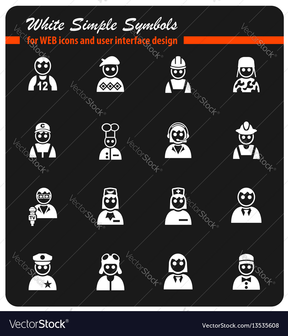 Occupation icon set vector