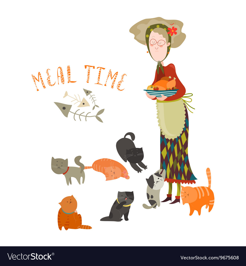 Old woman with her cats vector