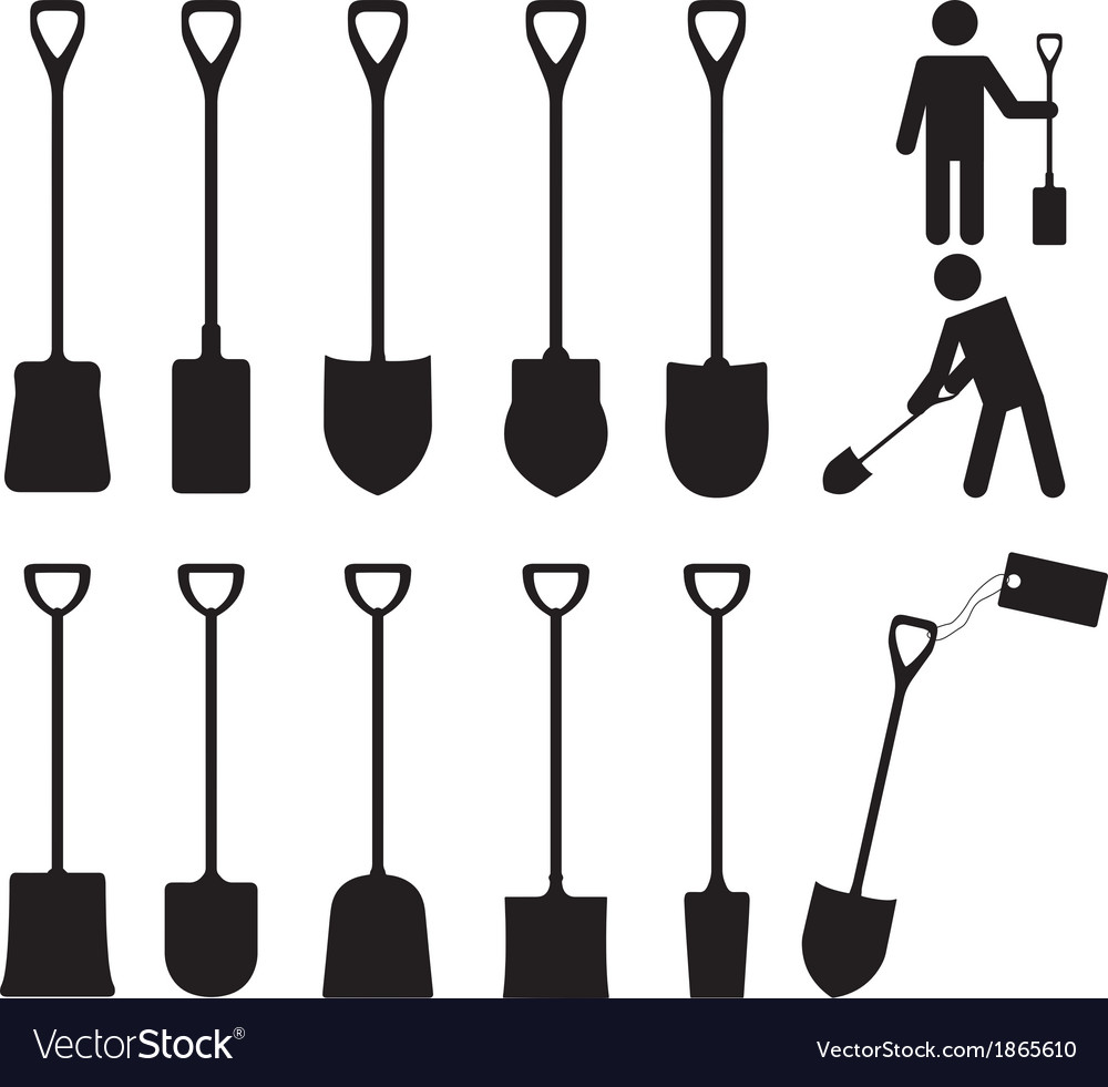 People with shovels vector