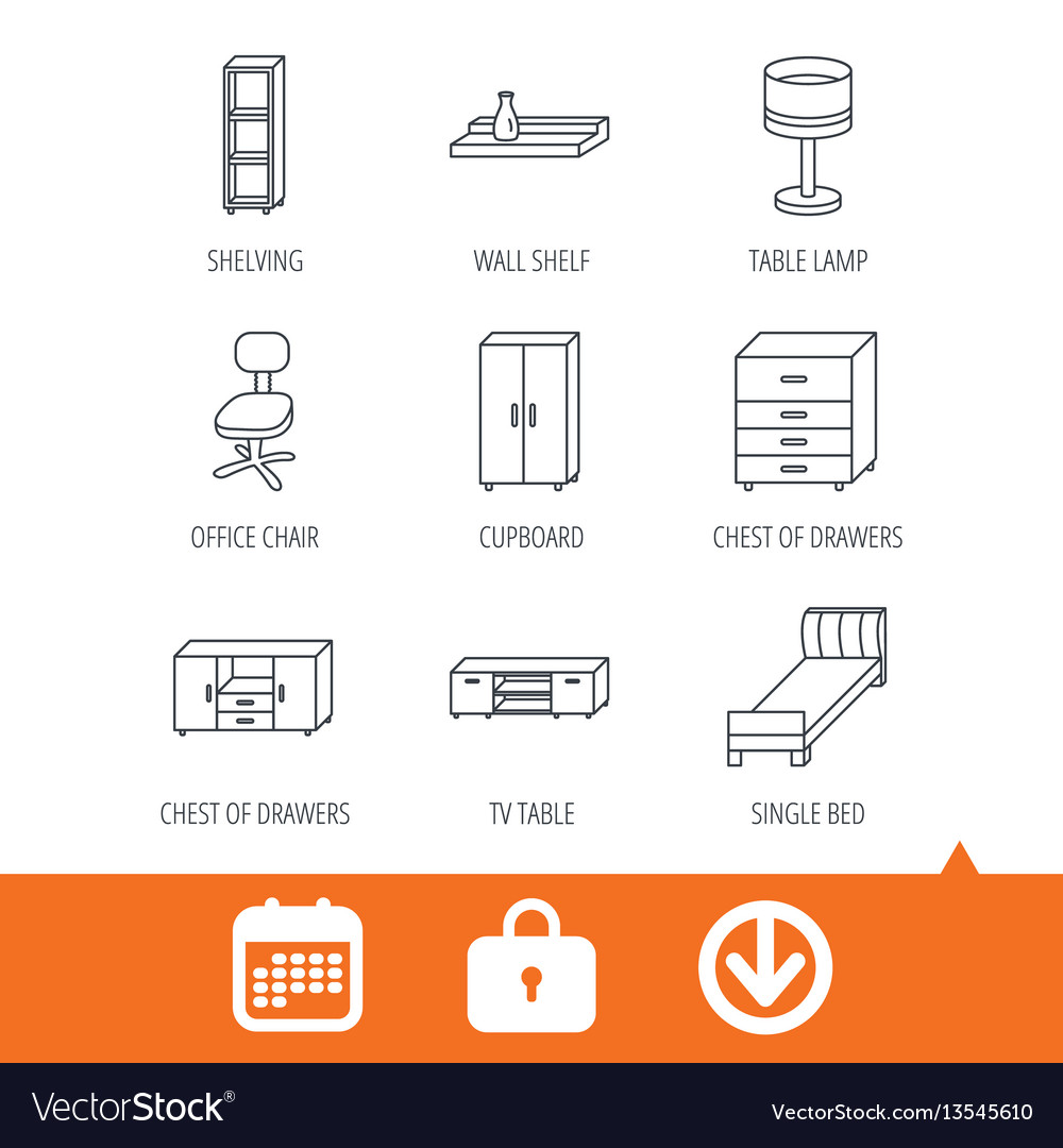 Single bed tv table and shelving icons vector