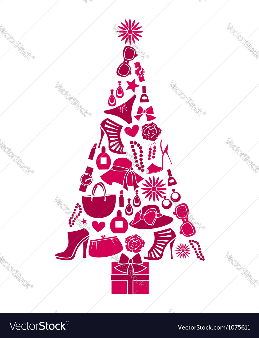 Fashion christmas tree vector